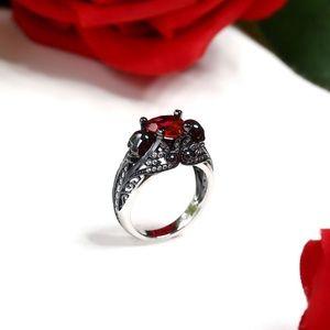 Sterling Silver Ruby Heart Black Skull Ring